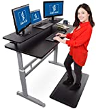Stand Steady Tranzendesk 55 Inch Standing Desk with 55 Inch Clamp On Shelf - Easy Crank Stand Desk and Attachable Monitor Riser Stand Supports 3 Monitors and Adds Desk Space! (55'/Silver Legs)