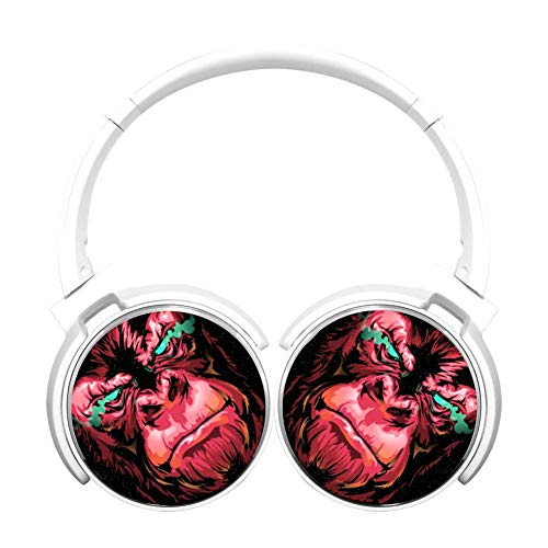 Ferocious Red Gorilla Customized Wireless Retractable Bluetooth Headphones Headsets Over Ear for Kids Or Adults White