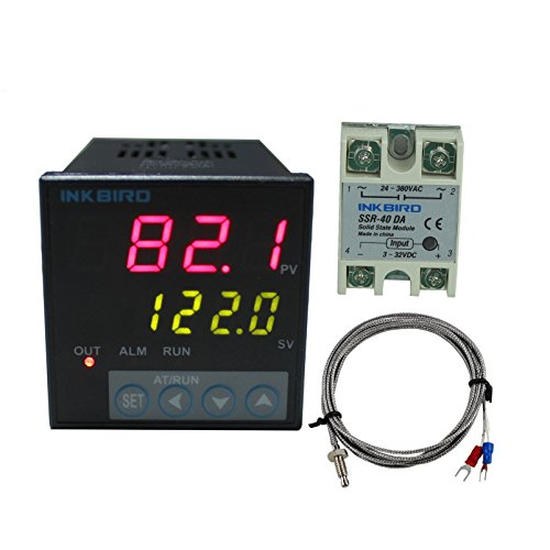 Inkbird ITC-106VH PID Temperature Thermostat Controllers, Fahrenheit & Centigrade, 100ACV - 240ACV, K Sensor, Solid State Relay for Sous Vide, Home Brewing (ITC-106VH + K + 40A SSR) - Temp Controller