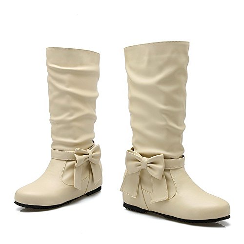 Beige AgooLar Boots On Women's Toe Solid Heels Pull Round Low PU WpOZFvS