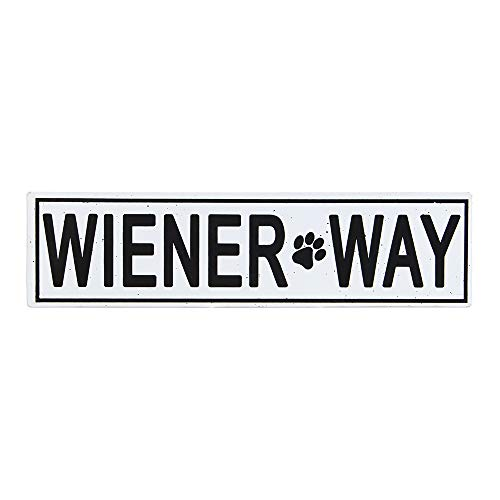 OHIO WHOLESALE, INC. Wiener Way Street Tin Sign | Funny Garage Bathroom Home Decor Wall Art | Ready to Hang | 4 x 16 Inch