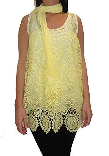 La cucharada de las señoras de las mujeres sin mangas del cuello italiano multicolor de la camisa del verano 8 10 12 14 16 Amarillo