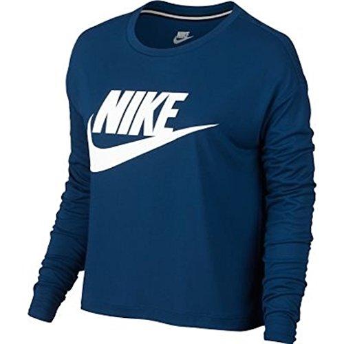 Nike Vrouwen Essentieel Lange Mouwen Hbr Crop Top Overhemd Binair Blauw / Wit