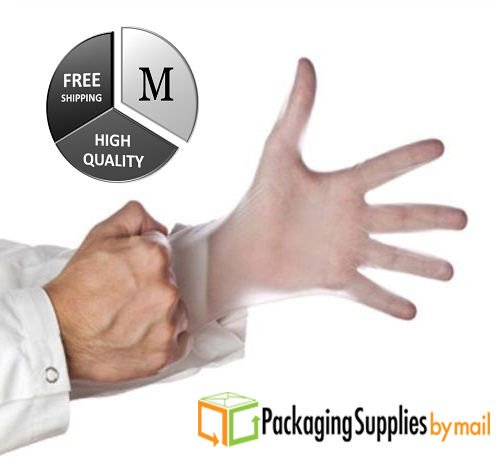 Powder Free Vinyl Glove, Disposable Glove, 5 Mil Thick Medical Glove, Latex Free and Allergy Free, Work, Food Service, Cleaning, (8000, Medium) by PackagingSuppliesByMail