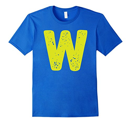 Mens Distorted Letter W First Name Easy Halloween Costume Shirt 3XL Royal Blue