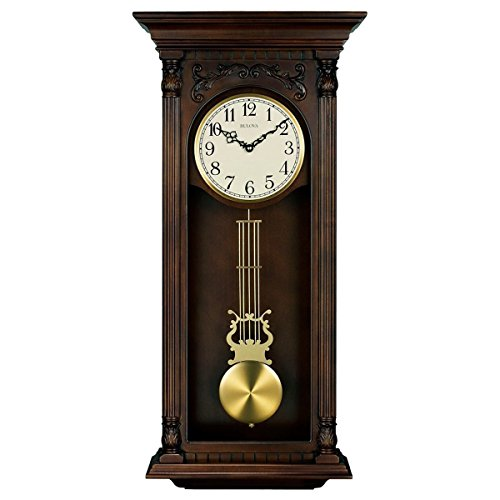 Bulova Norwood II Chiming Wall Clock - 16 in. Wide - Norwood Brown Cherry