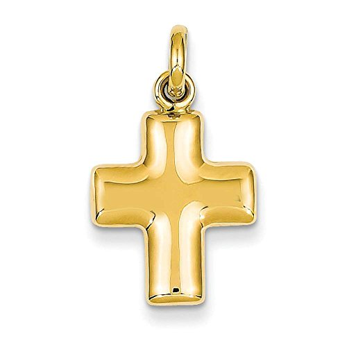 14k Yellow Gold Puffed Cross Charm Pendant 25mmx14mm ()