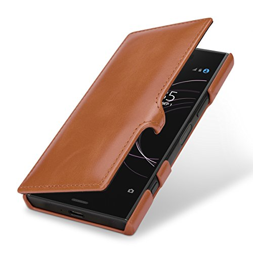 StilGut Genuine Leather Case for Sony Xperia XZ1 Compact, Book Type Folio Flip Cover with Clasp, Cognac Brown
