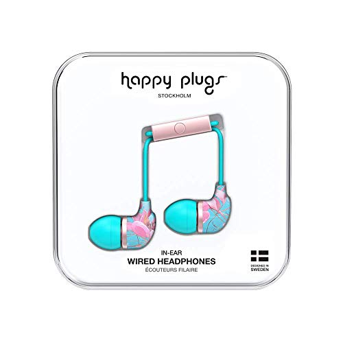 - Happy Plugs in-Ear Fashion-Tech Headphones with Mic and Remote, Botanica Exotica