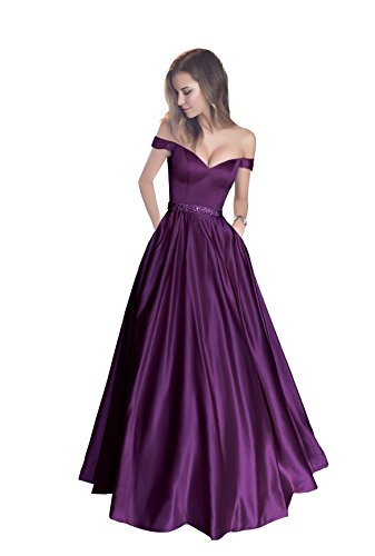Harsuccting Off The Shoulder Beaded Satin Evening Prom Dress with Pocket Purple 10