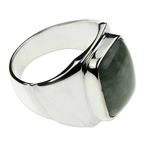NOVICA Natural Jade .925 Sterling Silver Modern Men's Ring, Fortress' ()