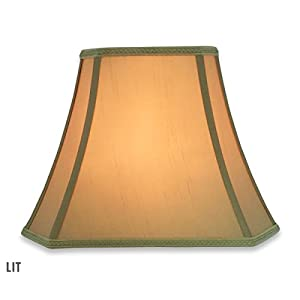 Royal Designs Rectangle Bell w Cut Corners Designer Lampshade - Antique Gold - (6.25 x 8) x (11 x 16) x 12