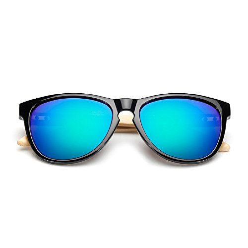 Weidan classic bamboo arm polarized sunglasses men and women retro Walker goggles 503 (Bright black frame / dark blue lenses, - Anteojos Mujer Sol Para De 2017
