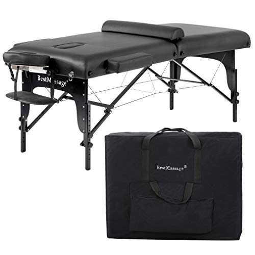 Massage Table Massage Bed Spa Bed 77 Inches Long 30 Inches Wide Heigh Adjustable 2 Fold 3 Inchs Density Sponge PU Portable Massage Table Bed w Carry Case Facial Cradle Salon Tattoo Bed