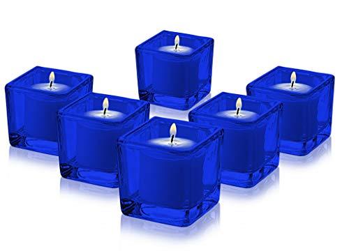 Square Votive Holders Full Cobalt Blue Color Set of 6 By Tabletop King