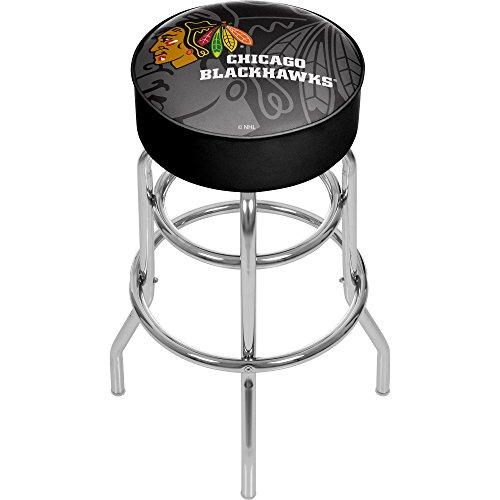 Trademark Gameroom NHL1000-CBH-WM NHL Chrome bar Stool with Swivel - Watermark - Chicago Blackhawksa