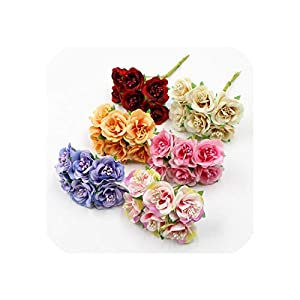 6pcs/lot 3cm Artificial Flower Silk Stamen Rose Bouquet for Wedding Home Decoration DIY Garland Scrapbook Gift Box Craft Flower 11