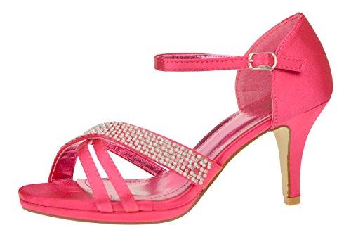 Chic Feet Ladies New Satin Diamante Wedding Bridal Prom Party Evening Mid Heel Dressy Sandals Hot Pink
