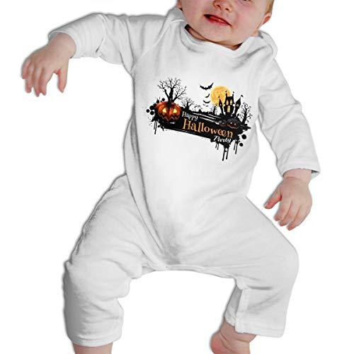 SWEETIE Halloween Pumpkins and Dark Castle On Full Moon Background Baby Long Sleeve Infant Bodysuit Romper for 6-24months -