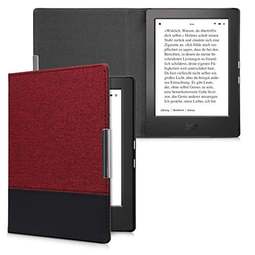 kwmobile Case for Kobo Aura H2O Edition 1 - PU Leather and Canvas Protective e-Reader Cover Folio Case - dark red black by kwmobile