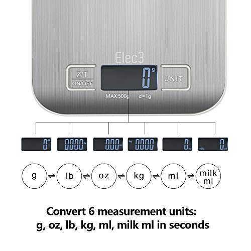Elec3 Digital Multifunction Kitchen and Food Scale, 11lb/5kg Stainless Steel Platform Kitchen Scale with LCD Display, 1 Year Warrant (Silver)