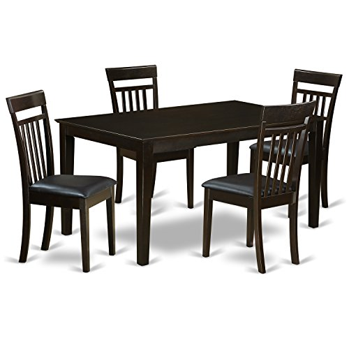 East West Furniture CAP5S-CAP-LC 5-Piece Dining Table Set
