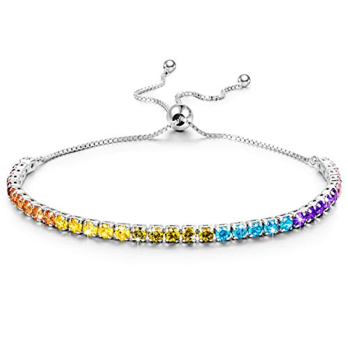 Kate Lynn Bangle Bracelets for Women Jewelry Gifts Woman s Seven Colorful Swarovski Crystals 925 Sterling Silver Adjustable Tennis Bangle Bracelets with Gift Box
