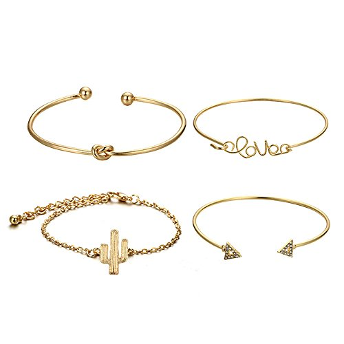 NIHAI 4PC Women Adjustable Gold Bracelet, Cactus Knotted Love Opening Bangle Cuff Bracelets Set, Beautiful Clothing Accessories Jewelry for Girls Ladies