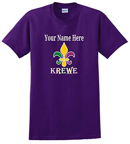 Krewe Fleur-de-LYS Punny MardiGras Top Mardi Gras Clothes Custom Name Fleur-de-lis Krewe Personalized T-Shirt Large Large Purple ()