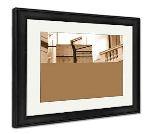 Ashley Framed Prints Flag Sign of The Most Famous Fashion Street in Milan Italy, Wall Art Home Decoration, Sepia, 26x30 (Frame Size), Black Frame, AG5901022