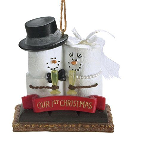 """3.25"""" S'mores """"Our 1st Christmas"""" Newlywed Bride and Groom Holiday Ornament"""