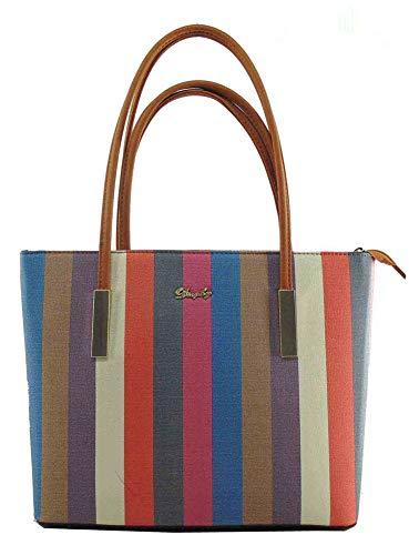 Lady Women Handbags Wallets Sets Striped Leather Satchel Purses Shoulder Tote Shopper Bucket -