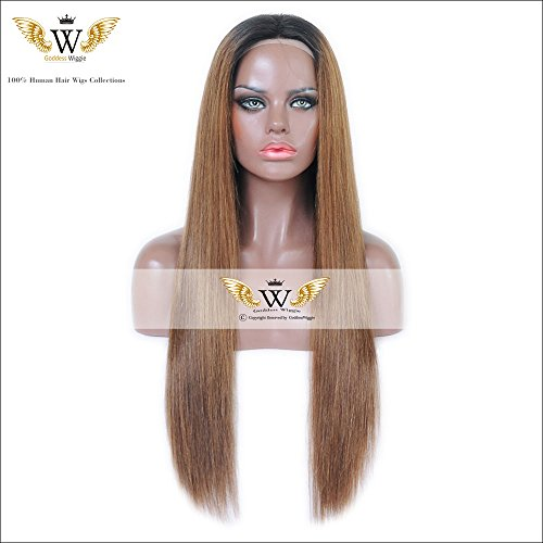 6A Grade 130-180denisty Silk Top Lace Front Ombre Color Human Hair Glueless Straight Lace Front Wigs With Baby Hair (22inch 180denisty) by Goddess