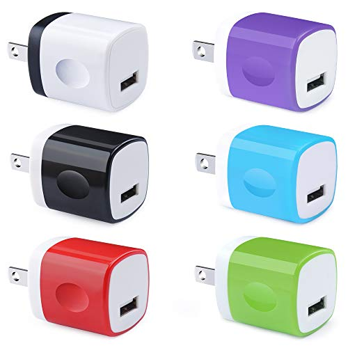 USB Plug 6 Pack, UorMe 1A 5V Single Port Wall Charger Power Adapter Cube Block Box Compatible with Phone Xs XR X 8 7 6S 6 5, Samsung S10e S9 S8 Note 9 8 S7 Edge, LG, Nexus, Moto, BlackBerry and More ()