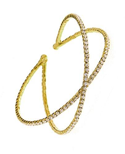 Row Cross Criss - Women's Single Row Rhinestone Criss Cross Cuff Bracelet in Gold-Tone