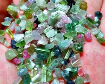 1 Gram of Pink, Green, Blue and Watermelon Tourmaline Crystals For Wire Wrapping and Jewelry/ Collection ()