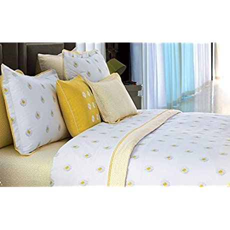 Yves Delorme A La Foile Chamomile Daisies Floral Full Queen Flat Sheet Yellow White 100 Egyptian Cotton Printed Percale