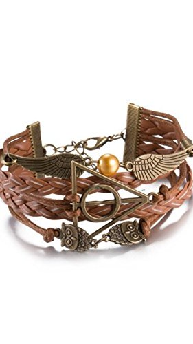 Harry Potter Deathly Hallows, Infinity, Owl, Believe Freedom Braided Leather Bracelet (Style (Harry Potter Snitch)