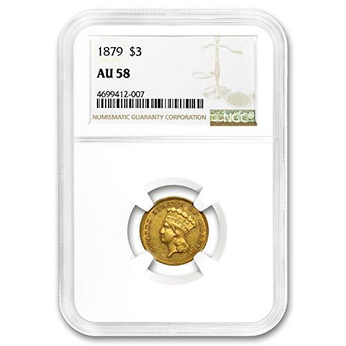 1879 $3 Gold Princess AU-58 NGC $3 AU-58 NGC