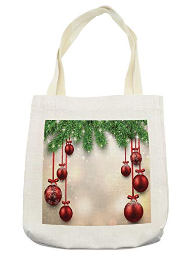Ambesonne Christmas Tote Bag, Xmas Traditional Winter Season Theme Fir Twigs and Vibrant Balls Graphic Print, Cloth Linen Reusable Bag for Shopping Groceries Books Beach Travel & More, -