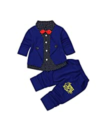 Baby Boy Formal Party Wedding Christening Tuxedo Suit with Bow Suit Outfit Set