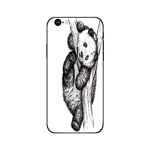 Phone Case Compatible with iphone6 iphone6s mobile phone covers phone shell Brandnew Tempered Glass Backplane,Animal Decor,Cute Little Panda Bear on Tree Branch Fury Tropical Jungle Zoo Sketchy Print,