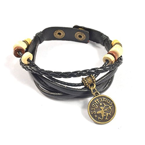 Sagittarius Astrology Horoscope Bracelet Fashion Jewelry Made of Braided Leather with Brass Zodiac Charm and Adjustable 2-Snap Fastener is Unisex for Men and Women (Sagittarius)