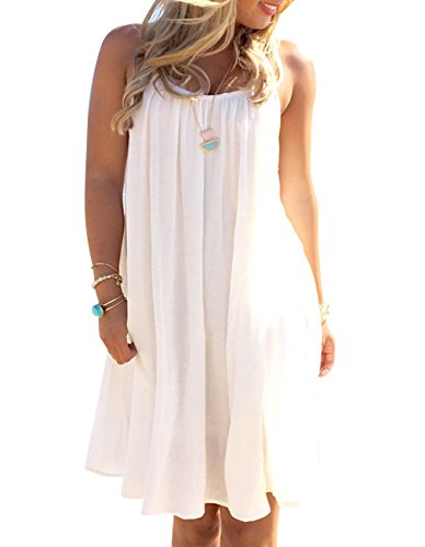 Summer Women's Sexy Sleeveless Swing Lace Chiffion Beach Dress Bohemia Casual Tunic Top Shirts Ruffle Bath Dress (XL)