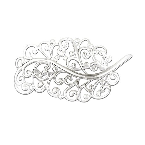 Sterling Silver Filigree Leaf Pin Brooch 27mm x 59mm