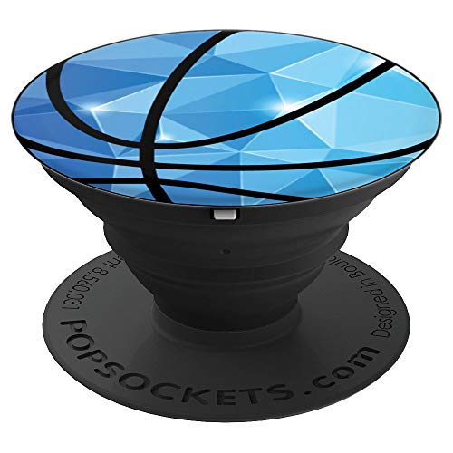 Basketball Blue Geo Diamond Gem Poly Geometric on Black Gift - PopSockets Grip and Stand for Phones and Tablets ()