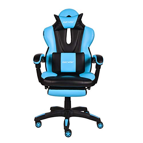 Gaming Office Chair Computer Desk Chair Racing Style High Back Chair Executive and Ergonomic Style Swivel Chair with Headrest and Lumbar Support (Sky Blue)