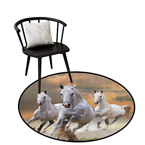 Absorbent Round Rug Animal Decor Easy to Care Stallion Horses Running On A Mystical Sky Background Equestrian Male Champions Print White Orange D35(90cm)