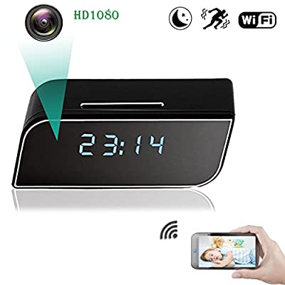 WiFi Spy Hidden Camera, ZDMYING HD1080 Alarm Clock Security Camera Motion Detection Night Vision loop Recording, Up to 64G Storage SD Card for Nanny Home Office (iPhone, Android and PC) from WH13-ZDMY01-WHE