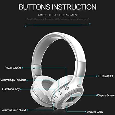 Auriculares Bluetooth plegables con micrófono y pantalla LCD